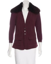 Narciso Rodriguez - Fur-trimmed Silk Jacket - Lyst