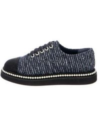 Chanel - Tweed Faux-pearl Cc Oxfords - Lyst