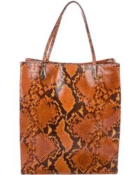 John Galliano - Embossed Leather Tote Brown - Lyst