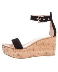 Gianvito Rossi - Leather Platform Wedges Black - Lyst