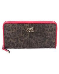 Class Roberto Cavalli - Coated Canvas Continental Wallet Brown - Lyst