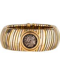bvlgari 18k tubogas ancient coin bracelet white lyst