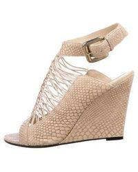 Givenchy - Embossed Leather Wedges Beige - Lyst