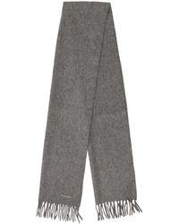 Jil Sander - Fringe-trimmed Fine Knit Scarf Grey - Lyst