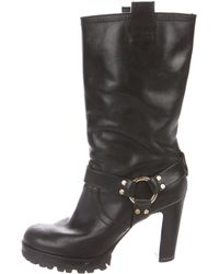 86128b66c7a Tory Burch - Leather Mid-calf Boots Black - Lyst