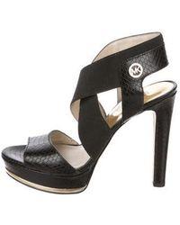 ad76609d3749 MICHAEL Michael Kors - Michael Kors Embossed Platform Sandals Black - Lyst