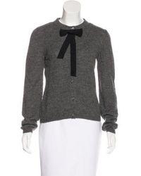 Boutique Moschino - Alpaca Bow-accented Cardigan Grey - Lyst