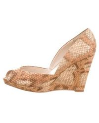 Kors by Michael Kors - Kors By Michael Embossed Leather Peep-toe Wedges Gold - Lyst