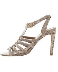 27dc535152ed9e Lyst - Tory Burch Patent Leather Ankle Strap Sandals Beige in Metallic