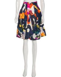 Christian Lacroix - Linen-blend Printed Skirt W/ Tags Navy - Lyst