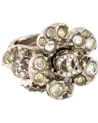 Chanel - Cc Crystal Camellia Cocktail Ring Silver - Lyst
