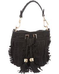 B Brian Atwood - Suede Fringe Bucket Bag Black - Lyst