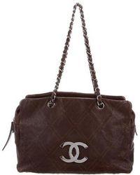 Lyst - Chanel Vintage Diamond Stitch Shoulder Bag Beige in Metallic ebe5b0da63dc4