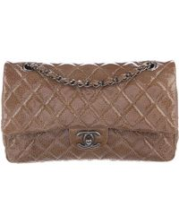 d5d241f0dace Chanel - Crinkled Patent Leather Classic Medium Double Flap Bag Brown - Lyst