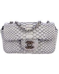 023bef6003fbb8 Lyst - Chanel E/w Flap Bag Black in Metallic