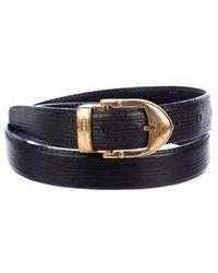 54763963095f Lyst - Louis Vuitton Silver-tone Buckle Leather Belt Black in Metallic