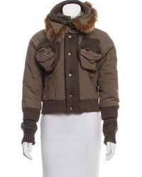 John Galliano - Fox Fur-trimmed Short Coat Olive - Lyst