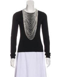 Naeem Khan - Embellished Cashmere Long Sleeve Top - Lyst