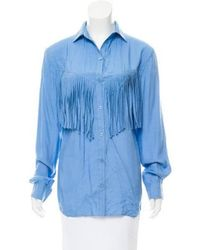 3813a265aea655 Lyst - Torn By Ronny Kobo Fringe-accented Button-up Top in Blue