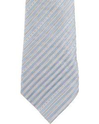 Chanel - Striped Cc Silk Tie Blue - Lyst