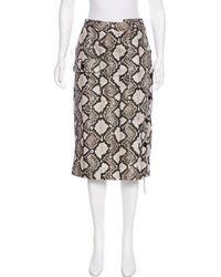 b3a6aa6203 Brunello Cucinelli - Suede Midi Skirt Neutrals - Lyst