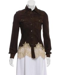 RED Valentino - Valentino Suede Lace-trimmed Jacket - Lyst