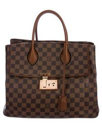 e67840ab2b49 Lyst - Louis Vuitton Damier Ebene Marais Bucket Bag Brown in Natural