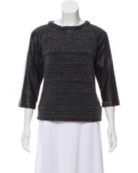 Gryphon - Leather-accented Knit Top Grey - Lyst