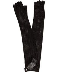 Chanel - Fingerless Laser Cut Lambskin Gloves W/ Tags Black - Lyst
