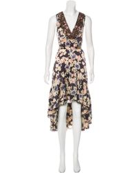 Gryphon - Embellished Floral Silk Dress Multicolor - Lyst