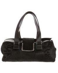 Sergio Rossi - Leather-trimmed Ponyhair Bag Black - Lyst