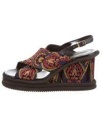 Dries Van Noten - Brocade Wedge Sandals Multicolor - Lyst