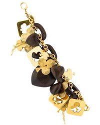 Erickson Beamon - Wooden Heart Charm Bracelet Gold - Lyst