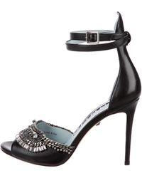 DANNIJO - Embellished Leather Sandals Black - Lyst