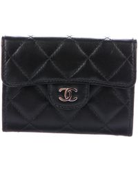 Lyst chanel quilted cc business card holder black in metallic chanel quilted cc business card holder black lyst reheart Choice Image