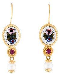 Tagliamonte - 18k Pearl & Ruby Micromosaic Drop Earrings Yellow - Lyst