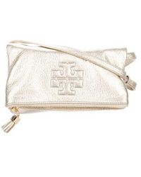 e506a5c3616f Lyst - Tory Burch Leather Shoulder Bag Navy in Metallic