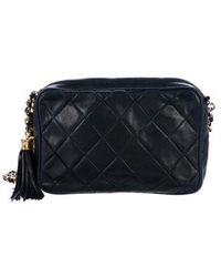 88099d0f7161 Lyst - Chanel Vintage Quilted Lambskin Camera Bag Navy in Metallic