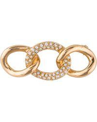 Dior - Crystal Curb Link Brooch Gold - Lyst