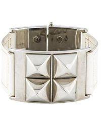 Michael Kors - Leather Stud Bracelet Silver - Lyst