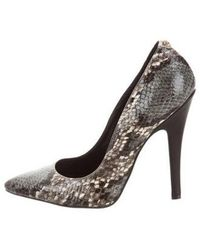 Just Cavalli - Embossed Pointed-toe Pumps Grey - Lyst
