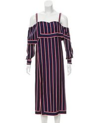 Monse - Silk Striped Tunic Navy - Lyst