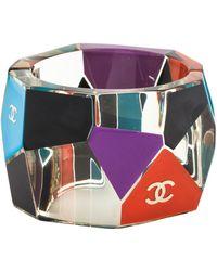 Chanel - Geometric Color Block Enamel Cuff Gold - Lyst