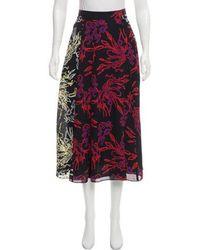 Tanya Taylor - Jackson Silk Midi Skirt W/ Tags Black - Lyst