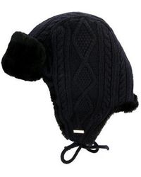 Tory Burch - Cable Knit Trapper Hat Blue - Lyst 44df63ba0542