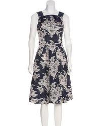 Carolina Herrera - Silk Midi Dress Navy - Lyst