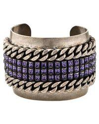 DANNIJO - Crystal & Curb Chain Cuff Silver - Lyst