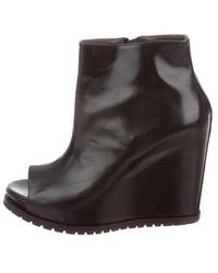 Brunello Cucinelli - Leather Wedge Booties - Lyst