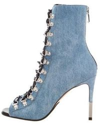 a613bffa3ba8 Lyst - Off-White C O Virgil Abloh Denim Ankle Boots in Blue