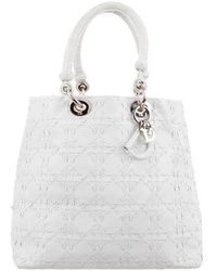 Dior - Leather Cannage Stitched Tote White - Lyst